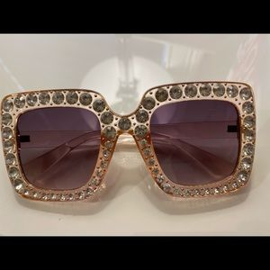 Y2K big sparkle sunglasses